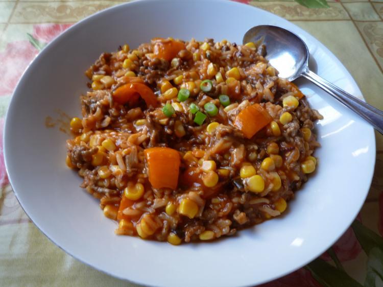Reispfanne mit Hackfleisch