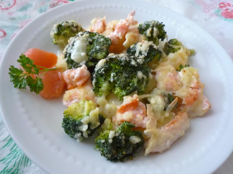 Broccoli - Lachs - Gratin