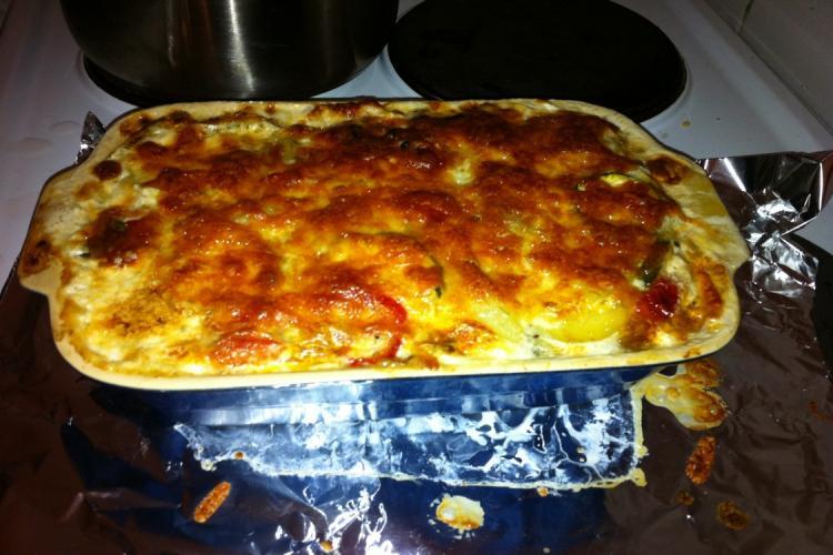 Würziger Tomaten-Zucchini-Auflauf
