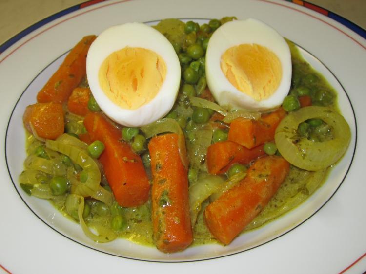 Eier in curryso e mit frischem gem se ein kochmeister - Eier kochen dauer ...