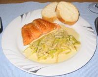 Lachs mit Sherry-Lauch-Gemüse